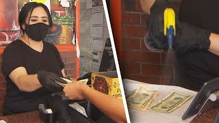 Restaurant Manager Sanitizes Cash She Gets From Customers