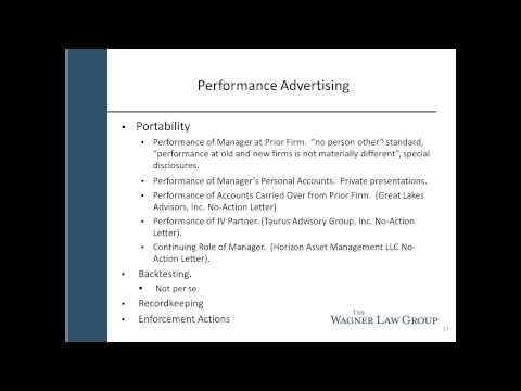 Performance Advertising Issues for Investment Advisers