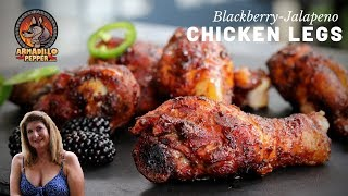 Smoked Chicken Legs on Pit Boss Pellet Grill with Blackberry-Jalapeno Glaze