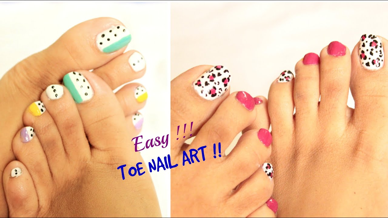 2 easy and quick toe nail art designs tutorial youtube prinsesfo Images