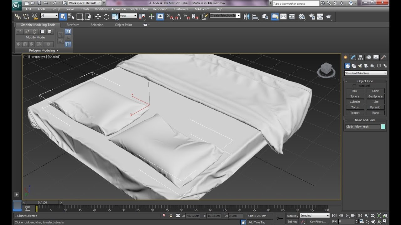 3ds max tutorial realistic interiors with marvelous designer bedsheet pillow elasticity part 2. Black Bedroom Furniture Sets. Home Design Ideas