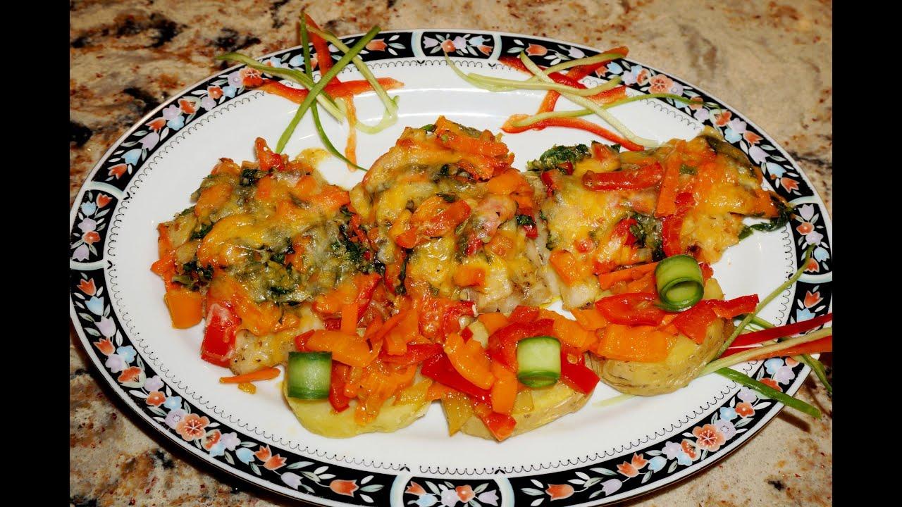 Треска (сайда) запечённая с овощами и сыром_Pollock baked with veggies and cheese
