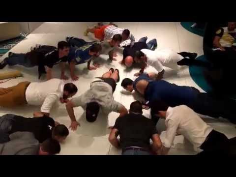 Ryan Bader and UFC Staff doing the 22 press up challenge for PTSD Sufferers.