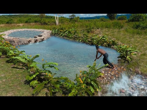 Building The Greatness  Natural Waterfall And Best Swimming Pool  Ancient Skill