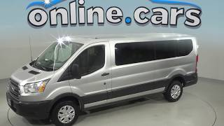 G98978ZP Used 2015 Ford Transit-350 XLT RWD 3D Low Roof Wagon Silver Review, For Sale