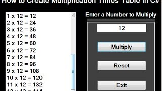 C# Tutorial - How To Create Multiplication Table Using ListBox