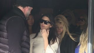 EXCLUSIVE: Gigi Hadid and Kendall Jenner at l'Avenue restaurant in Paris