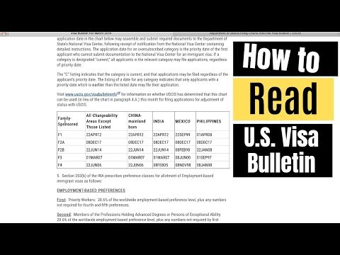How To Read The Visa Bulletin Easily (Step By Step Tutorial) Part 1/2
