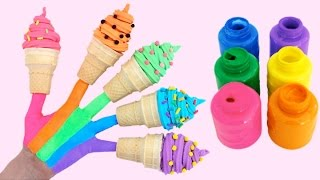 learn colors for children body paint with play doh ice creams finger family nursery rhymes