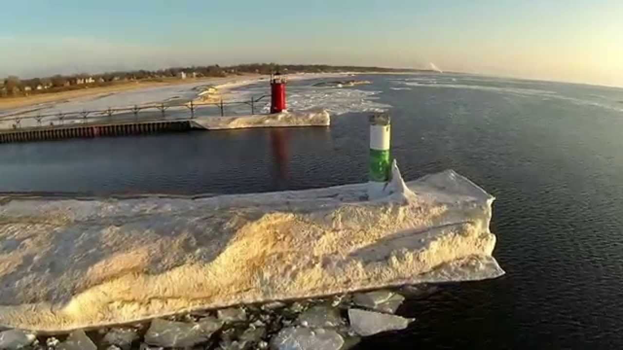 South Haven, Michigan lighthouse and pier floating ice