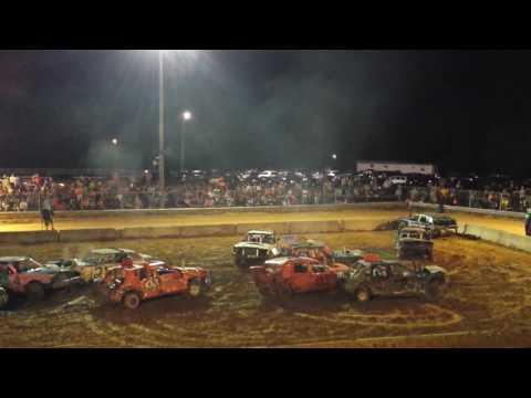 Grayson Co Fair Demo Derby 2016 BIG CAR STOCK MOTOR SWAP