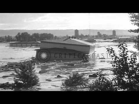 People flee as a result of heavy floods in Vanport in Oregon HD Stock Footage