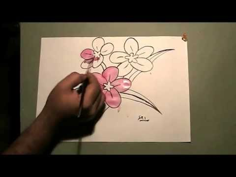 Flowers Drawing And Water Color Painting Youtube