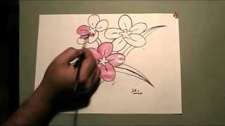 Flowers Drawing and Water Color Painting