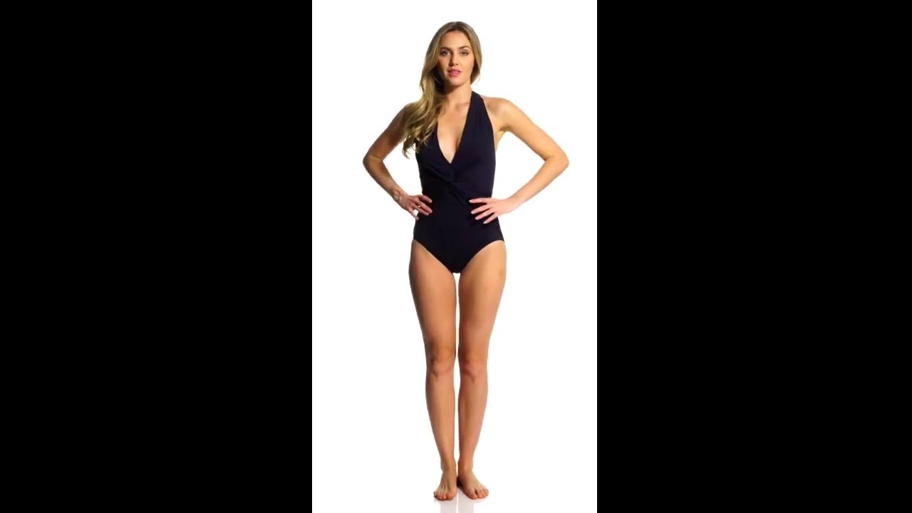 1c0a1f5135be4 Michael Kors Swimwear Draped Solids Deep V-Twist Halter One Piece Swimsuit  | SwimOutlet.com