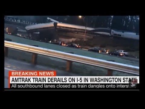 12/18 Amtrak Train Derails Seattle Washington Passenger Cars Dangling Over Interstate 5