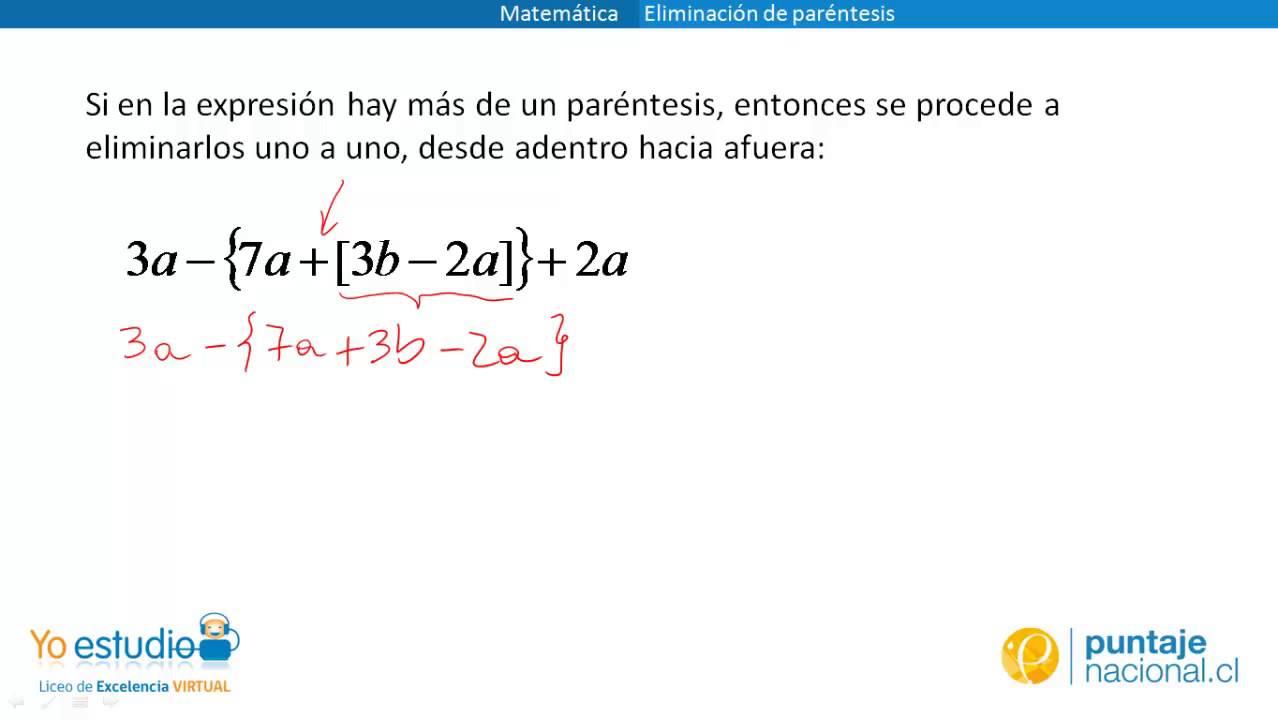 Matemática - Eliminación de paréntesis