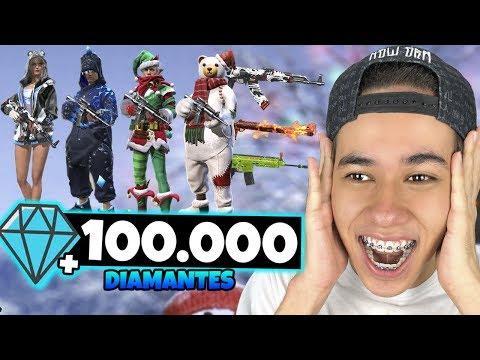 GASTEI 100 MIL DIAMANTES NO FREE FIRE E ZEREI A LOJA!! (R$4.000)