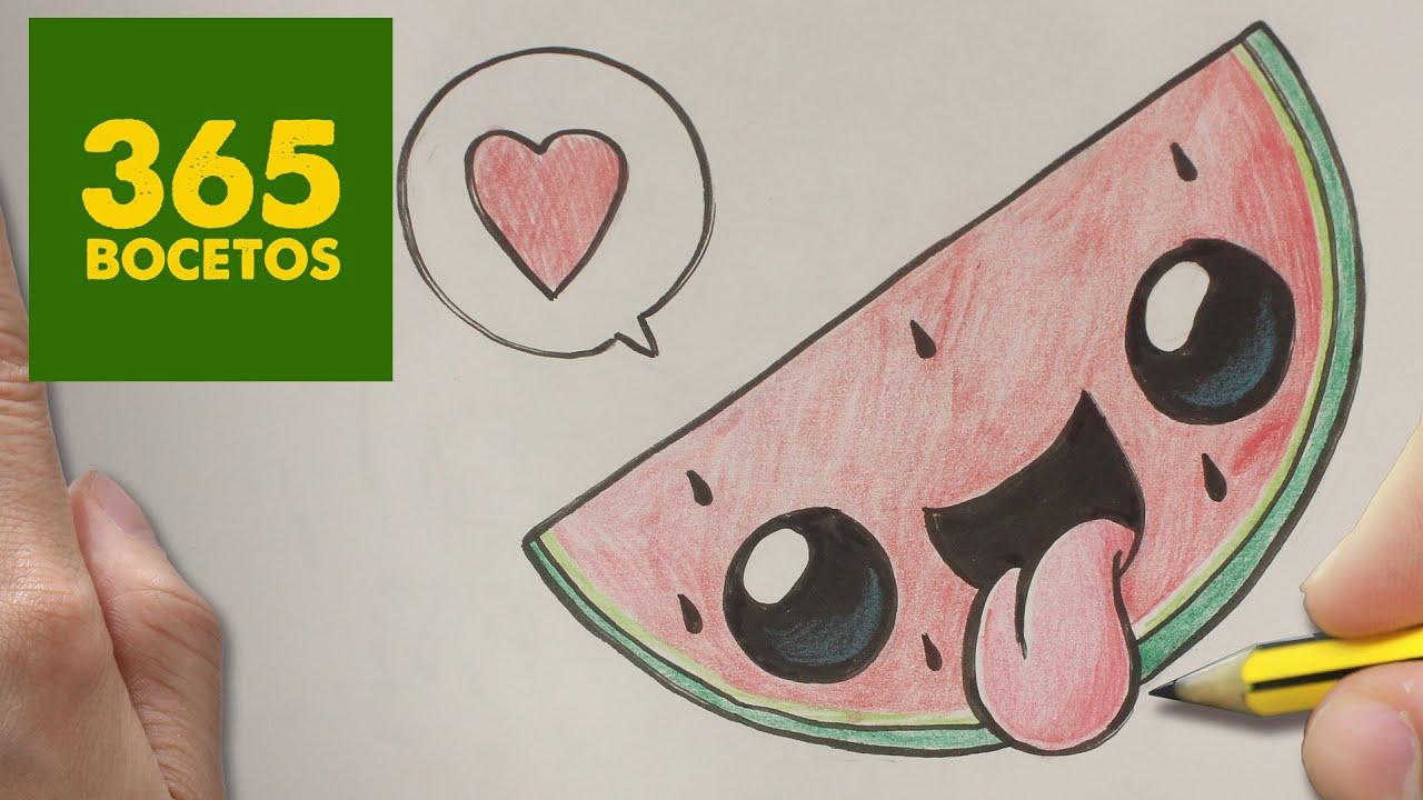 Como Dibujar Sandia Kawaii Paso A Paso Dibujos Kawaii Faciles How To Draw A Watermelon