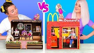 Nunca Velha Demais Para Bonecas!/ DIY De Starbucks Para LOL Surprise vs DIY De McDonalds Para Barbie