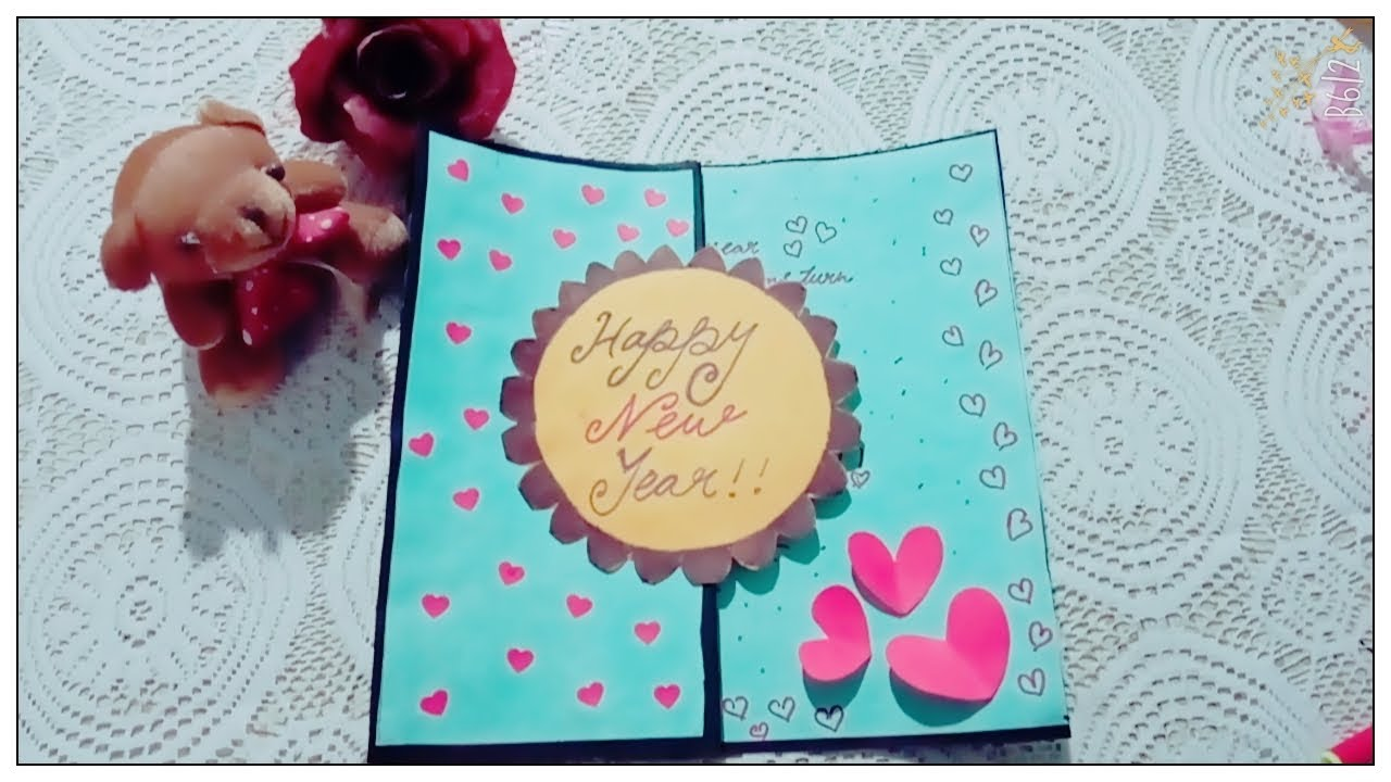 handmade new year card 2018 happy new year card card makingeasy card making idea