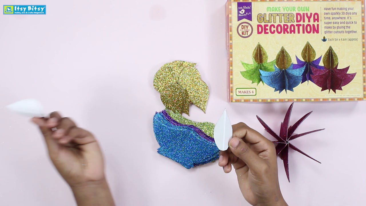 Diy Decoration Kit Make Your Own Glitter Diya Decoration Makes 4pc Itsy Bitsy