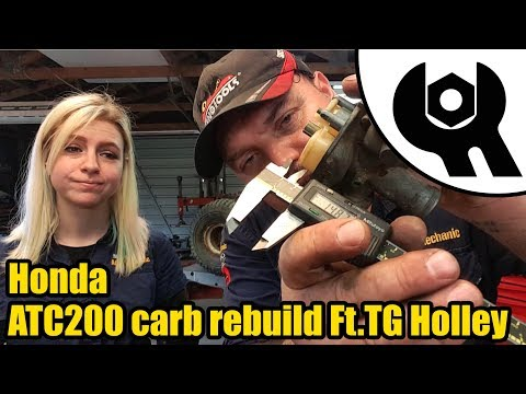 Honda ATC200 carb strip, inspection, clean & reassembly Ft.Tool Girl Holley #1846