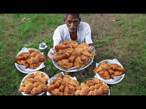 Grandpa Style Fried Chicken | Crispy Spicy Fried Chicken Cooking by our grandpa for Orphan kids