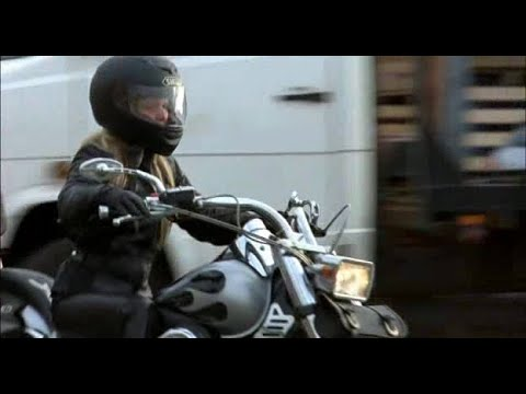 Actress Kierston Wareing in Motorcycle Gear