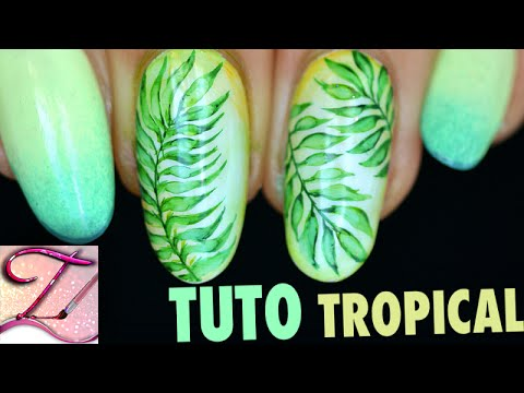 Nail art feuillage tropical aquarelle