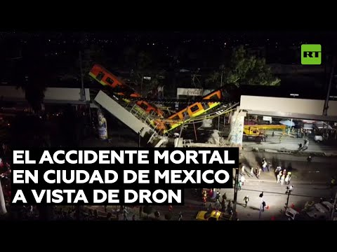 Imágenes aéreas del accidente mortal tras el desplome de un puente del metro en Ciudad de México