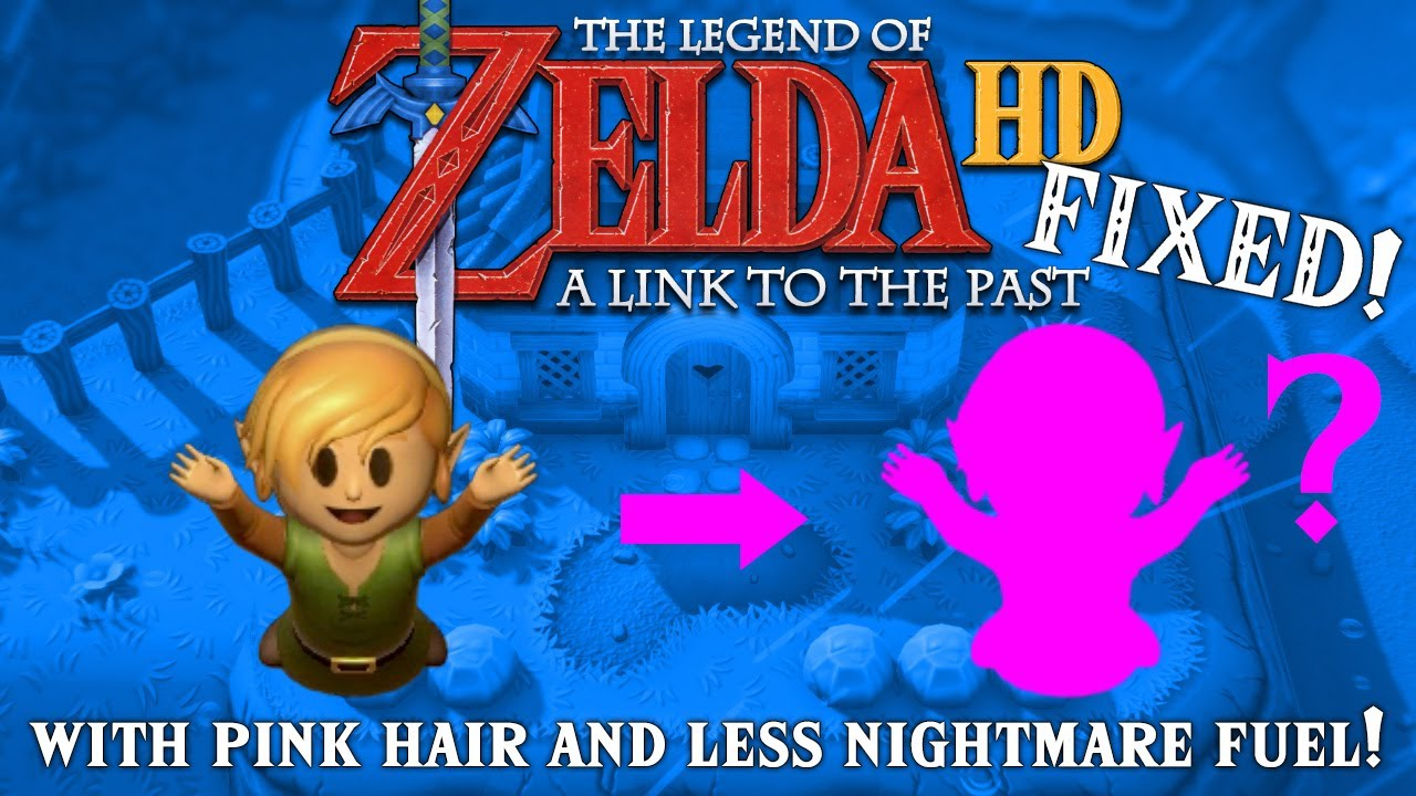The Legend Of Zelda A Link To The Past Hd With Pink Hair Fixed Eyes Youtube
