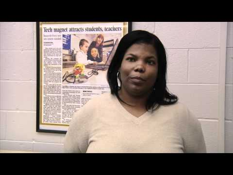 Tyesha Senter speaks about Roosevelt Perry Elementary School's care package project