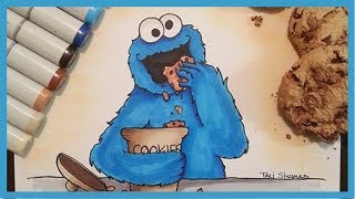 Cookie monster speed drawing (Copic markers)