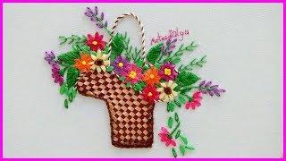 Faça Bordado Cesta com Flores
