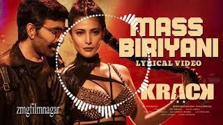 Mass Biriyani Lyrical Video Song | Krack | Raviteja, ShrutiHaasan| Gopichand Malineni| Thaman S