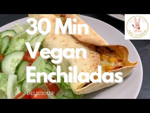 DELICIOUS 30 Minute Vegan Enchiladas for Beginners [Recipe] [Vegan] [Plant-based]