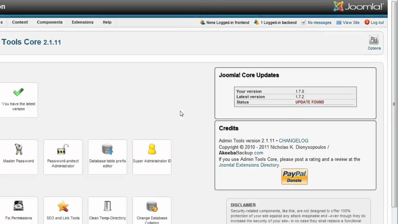 Joomla - Update Joomla core software using Admin Tools - YouTube