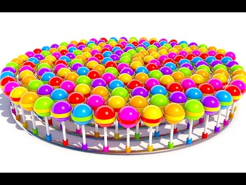 A lot of 3D Lollipops. Many candys for kids to learning colors