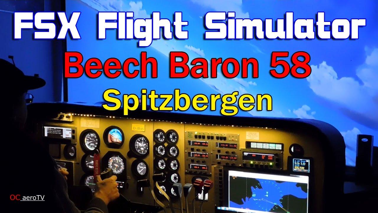 FSX Flight Simulator Beech Baron 58 Spitzbergen
