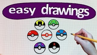 Easy drawings #210  How to draw a pokeball / Pokemon GO