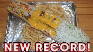 Chubby's Hot Dog Challenge Record 2 Ft Chicago, Slaw, & Chili Cheese Dog!!