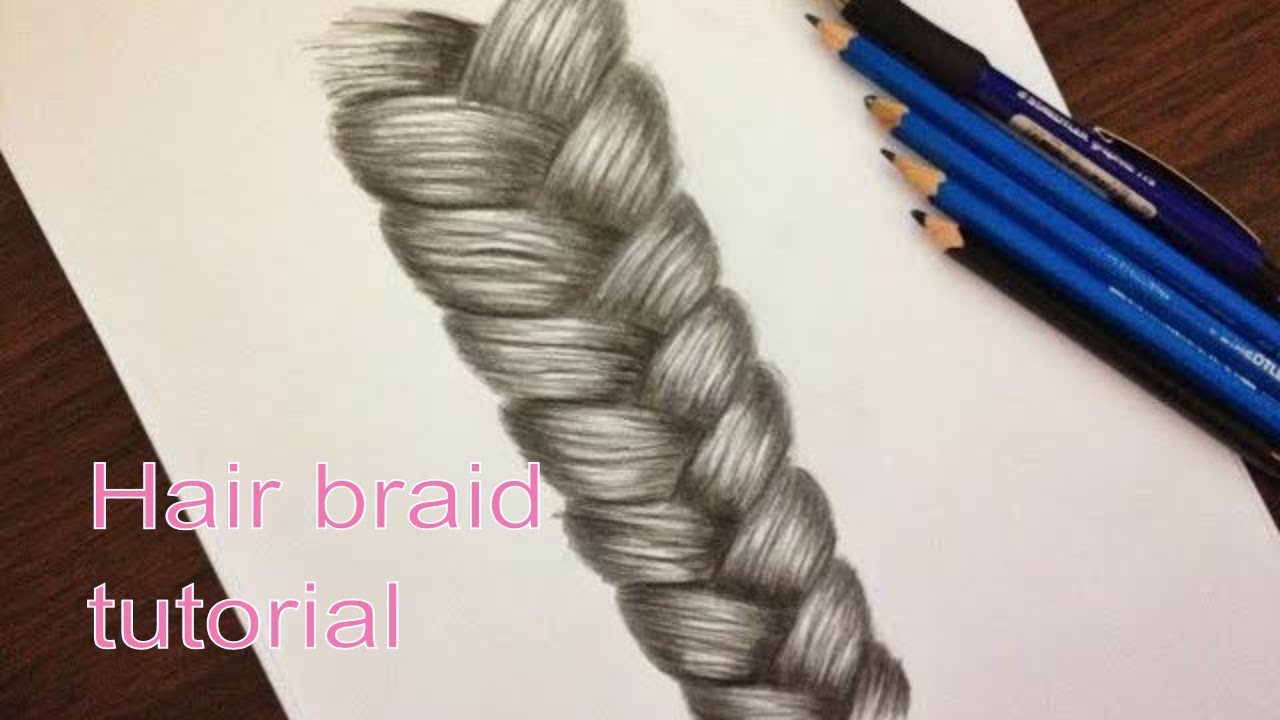 how to draw a braid in 10 steps �� realistic hair drawing