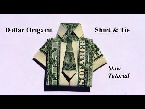Dollar Origami Shirt & Tie (Revised Slow Tutorial)