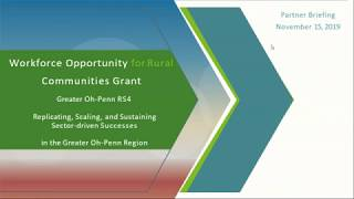 Replicating, Scaling, and Sustaining Sector-Driven Successes in the Greater Oh-Penn Region