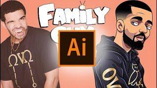 DRAW  Drake As Family Guy Character ( ADOBE ILLUSTRATOR )