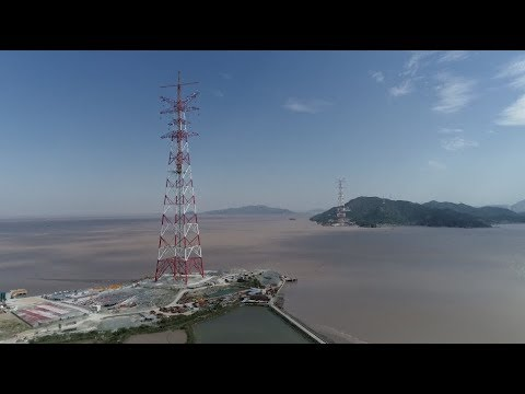 World's Highest Transmission Twin Towers Completed in East China Port