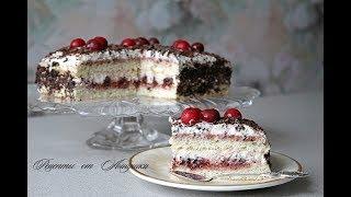 Торт бисквитный с вишней. Простой рецепт