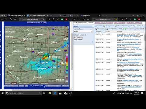 5/24/19 Peoria, Illinois (Lincoln, Illinois) NOAA Weather Radio Tornado and Severe Weather Coverage