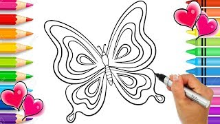Beautiful Butterfly Coloring Page with GLITTER | Glitter Art | Butterfly Art | Rainbow Butterfly